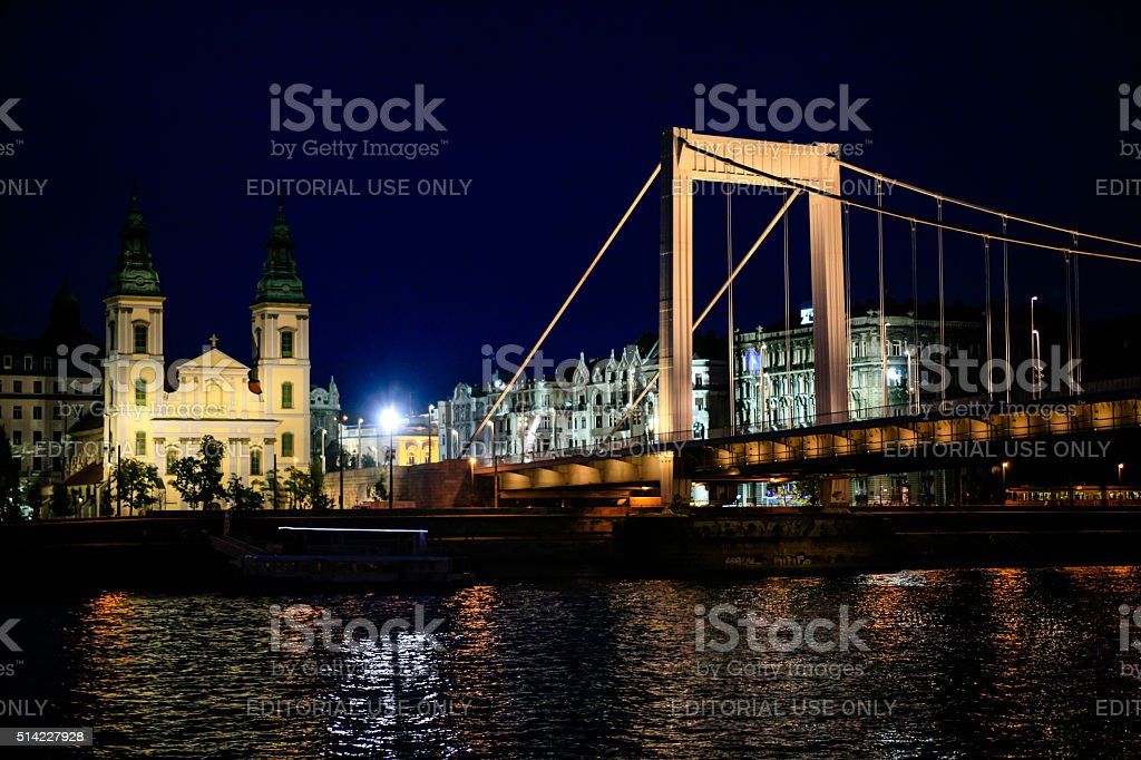 The Elizabeth Bridge at night in Budapest, Hungary stock photo