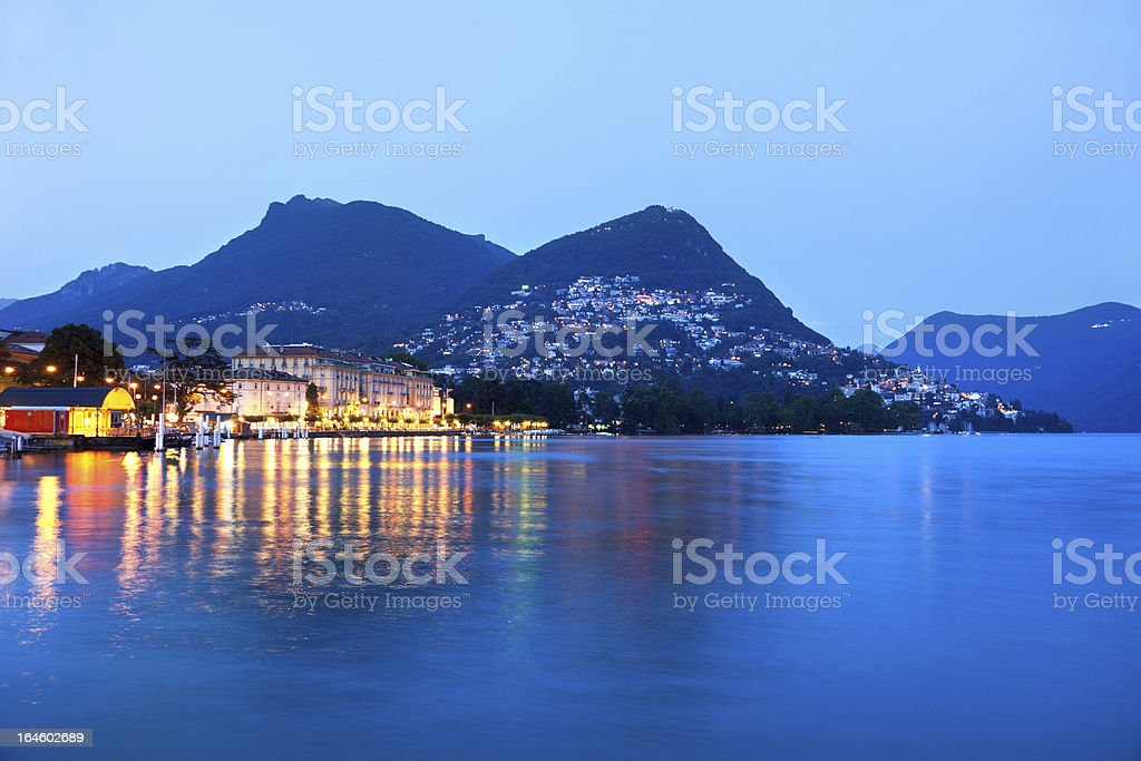 The embankment of Lugano, Switzerland, Canton Ticino stock photo