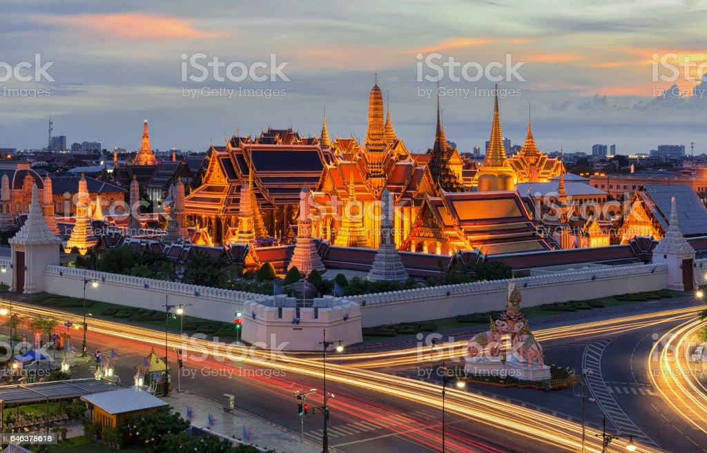 The Emerald Buddha at Sunset, Bangkok, Thailand stock photo