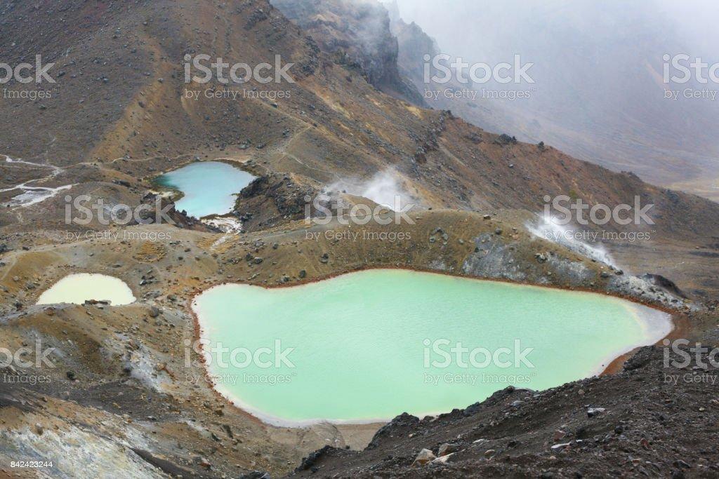 The Emerald Lakes, Tongariro Crossing stock photo