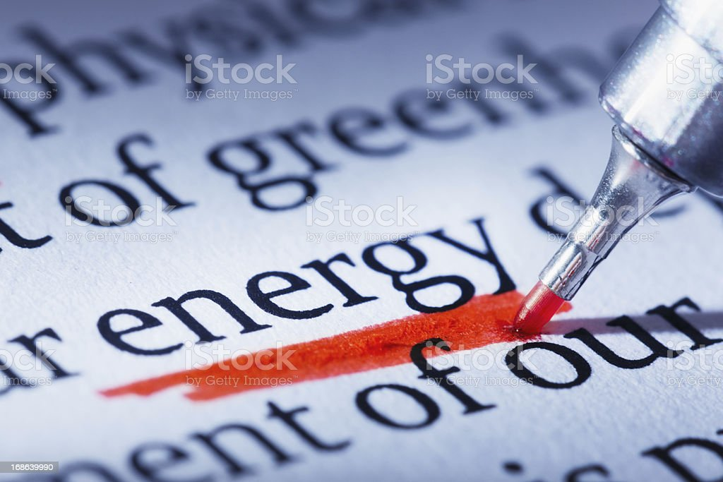 The emphasis is on Energy in this printed document stock photo