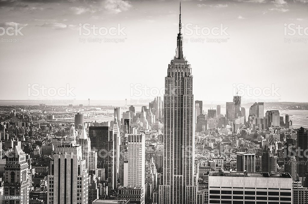 The Empire State building and manhattan panorama in NYC royalty-free stock photo