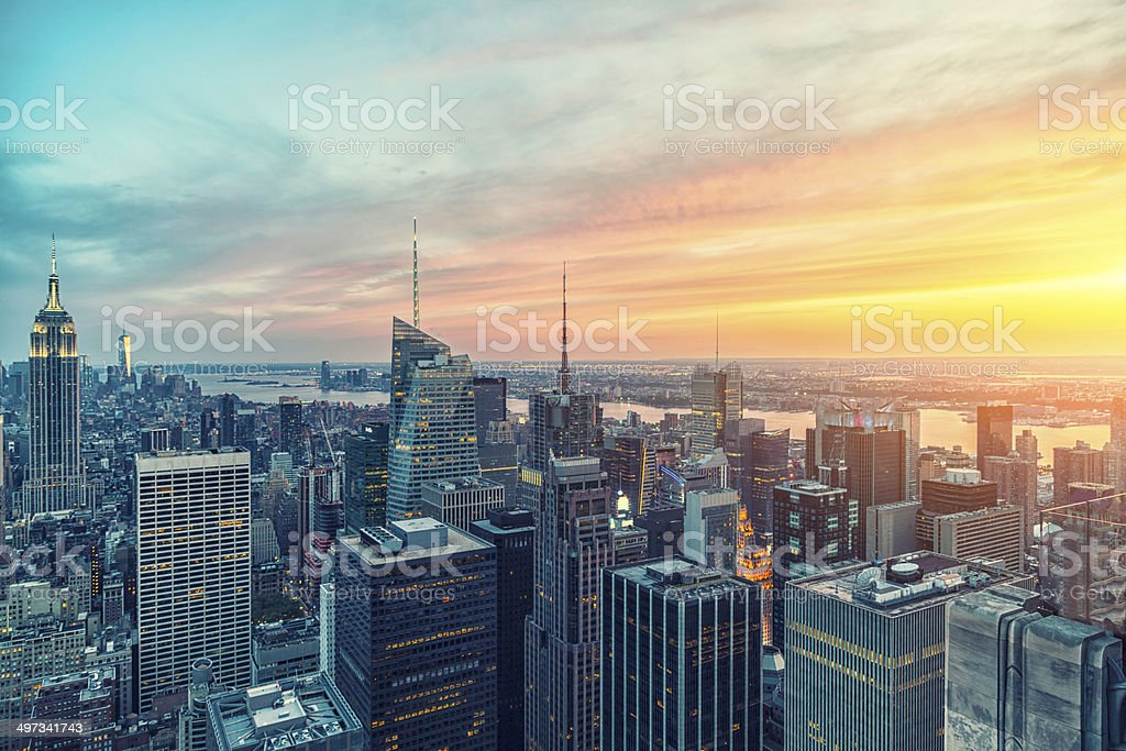 The Empire State building and manhattan panorama in NYC stock photo