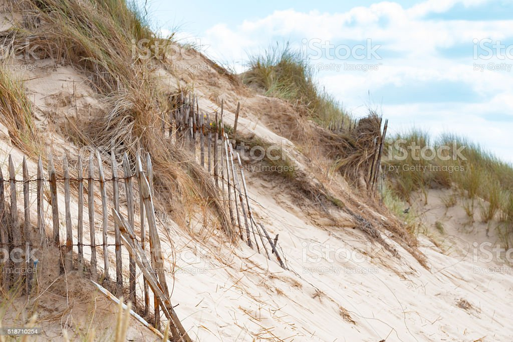 the empty Beach of Barneville Carteret, Normandy, France stock photo