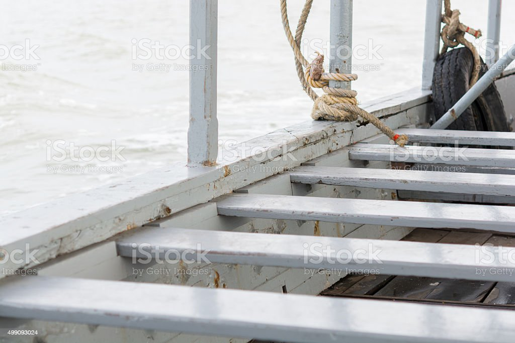 The empty seats in the passenger boat stock photo
