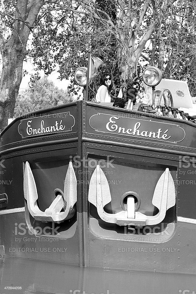 Il incantatrice Vintage Chiatta, canale Di Midi, Francia foto stock royalty-free