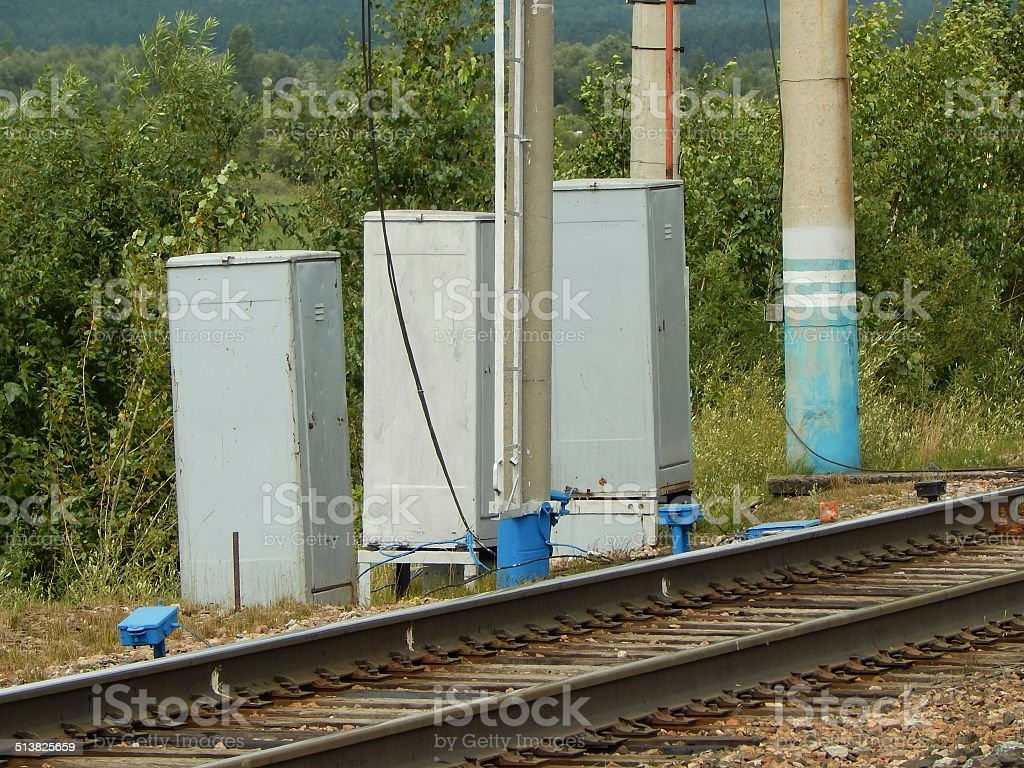 The enclosures of electrical equipment on rail. stock photo