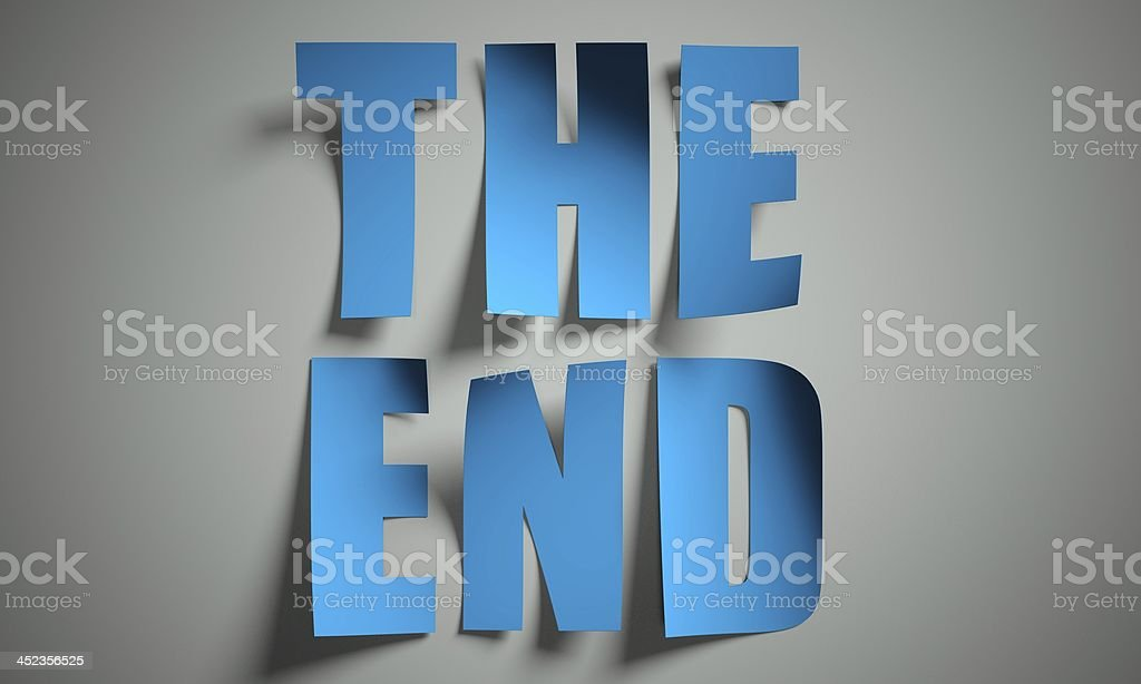 The end cut from paper on background stock photo