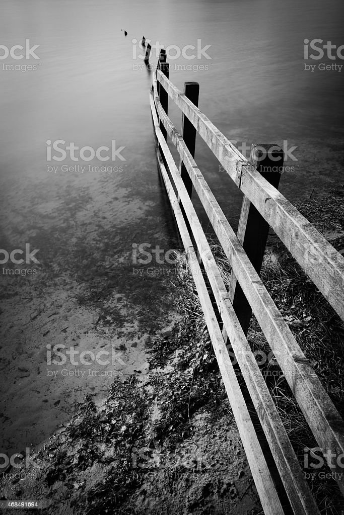The End Of A Fence At Rivington Reservoir. stock photo