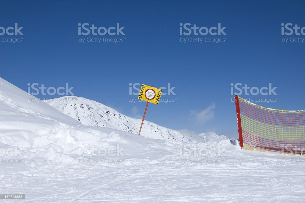 'the end of a skipiste, closed slope' stock photo