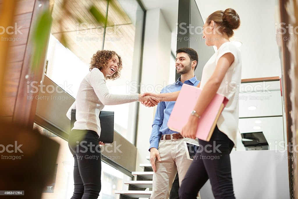 the end of a successful meeting stock photo