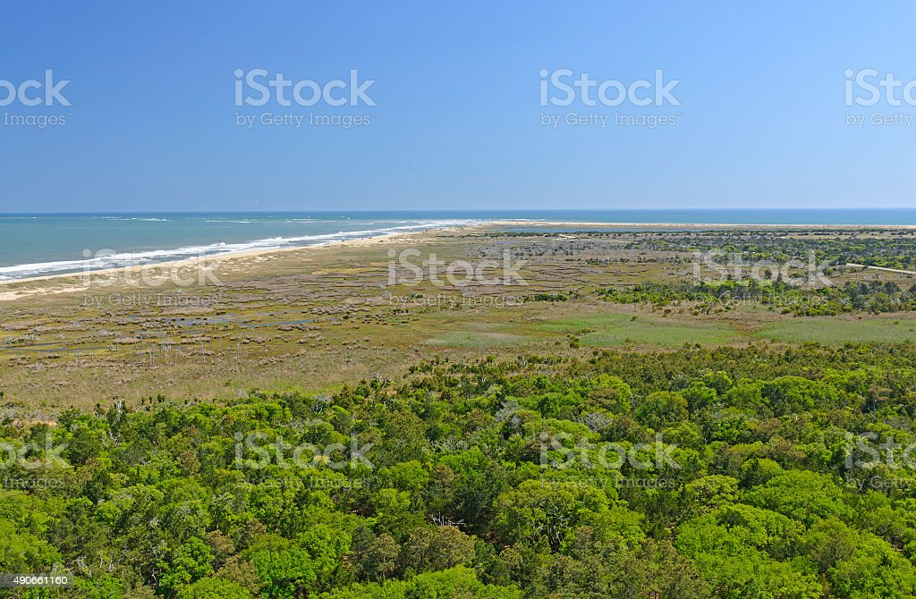 The End of Land Viewed From a Lighthouse stock photo