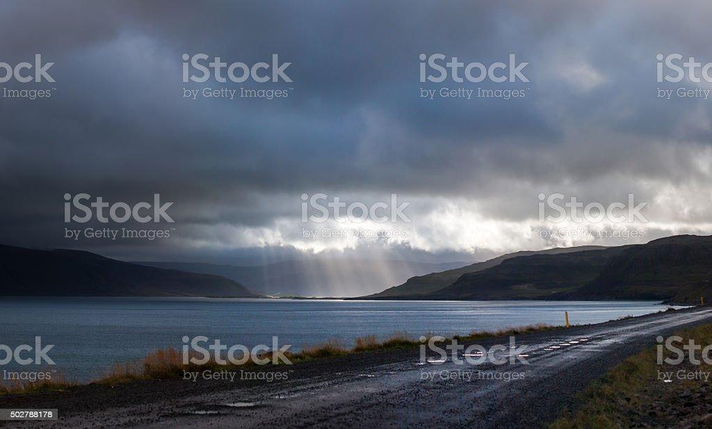 The end of Patreksfjordur stock photo