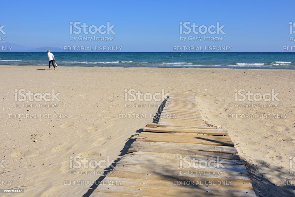 The end of the holiday season on Artemis beach, Attica, Greece stock photo