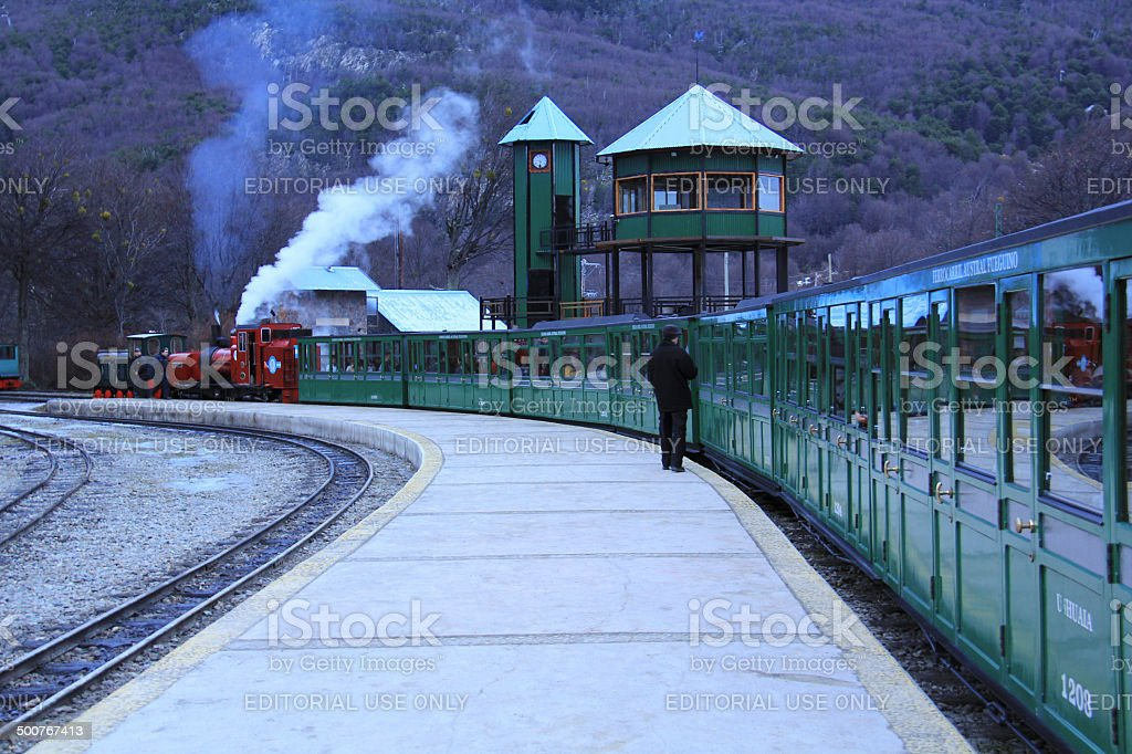 The end of the world train stock photo