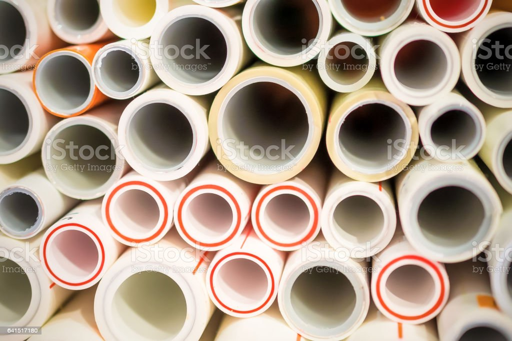 The ends of polypropylene and plastic pipes. stock photo