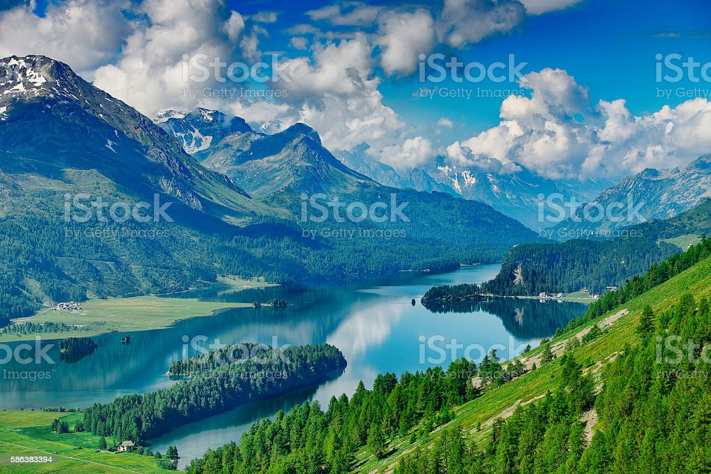 The Engadine Valley in Switzerland with its lakes stock photo