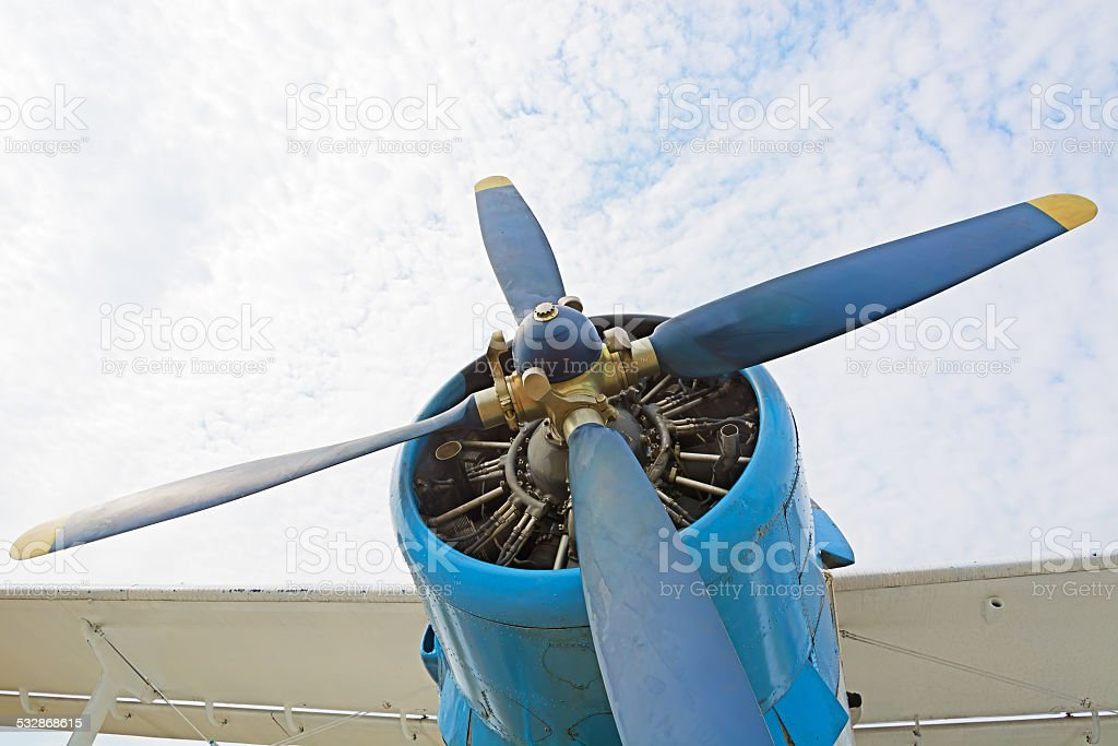 The engine and propeller plane AN2. stock photo