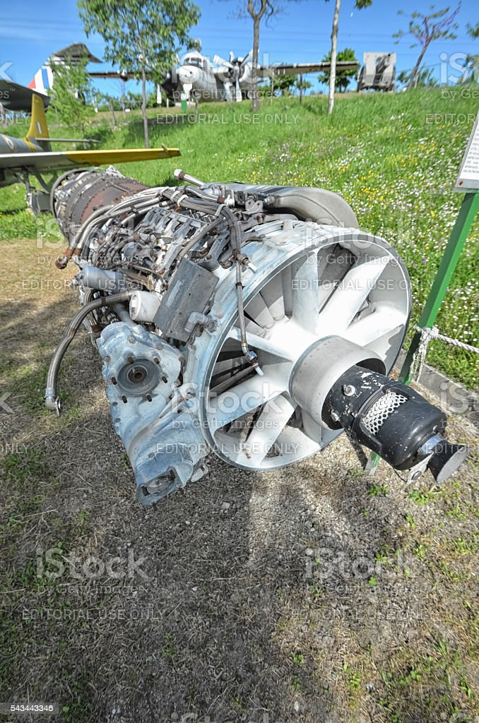 The engine of a fighter jet stock photo