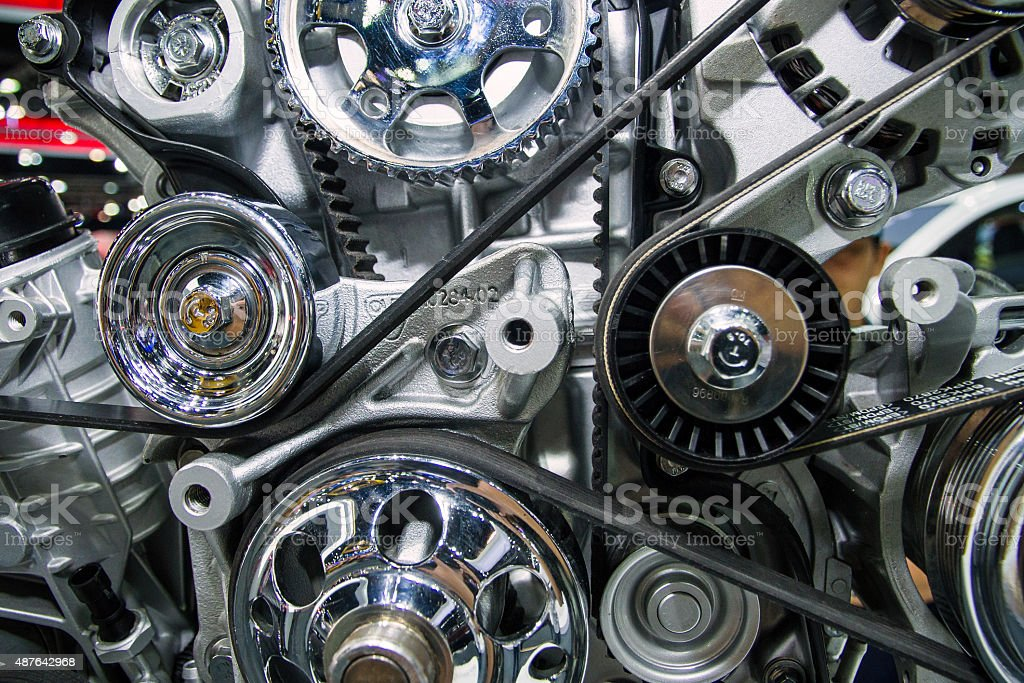 The engine of the truck stock photo