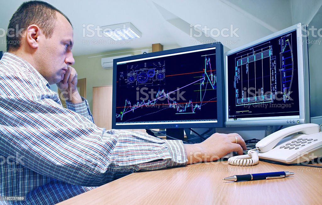 The engineer checks the project on your computer. stock photo