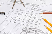 The engineering drawing with tools