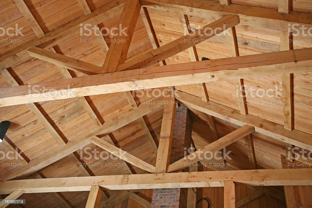 The engineering of wooden structures stock photo