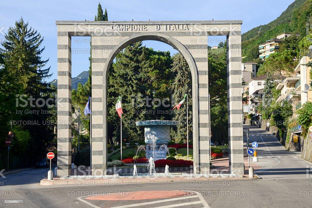 The entrance arch of Campione d'Italia on lake lugano stock photo
