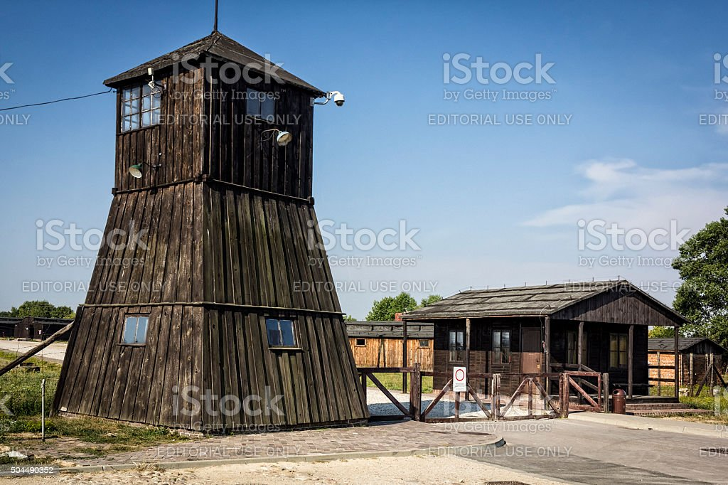 The entrance gate to the concentration camp, Poland stock photo