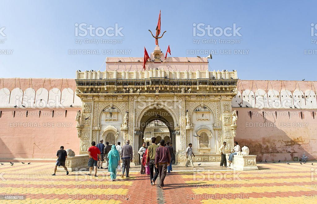 The entrance of RatsTemple , Bikaner, India stock photo
