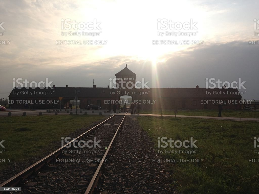 The entrance of the notorious Auschwitz II-Birkenau stock photo