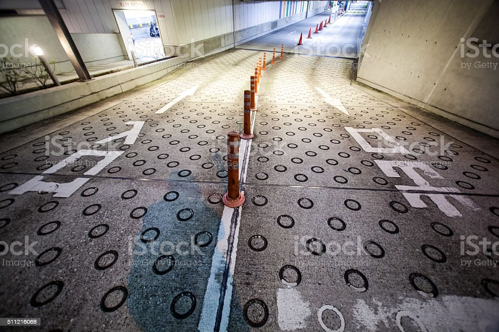 The entrance of underground parking stock photo