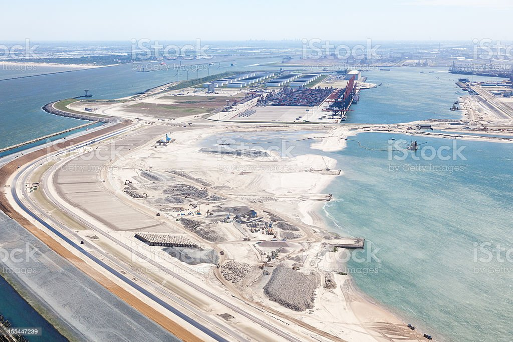 The entrance to Rotterdam with second maasvlakte aerial stock photo