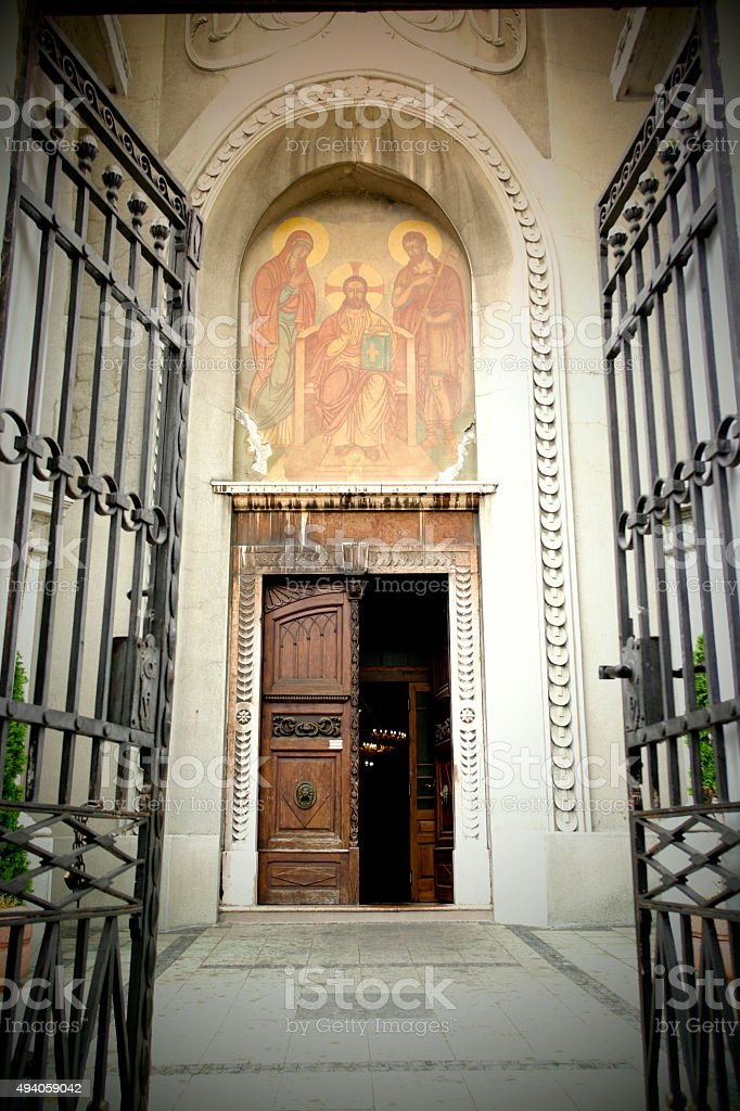 The entrance to the church in Pancevo stock photo