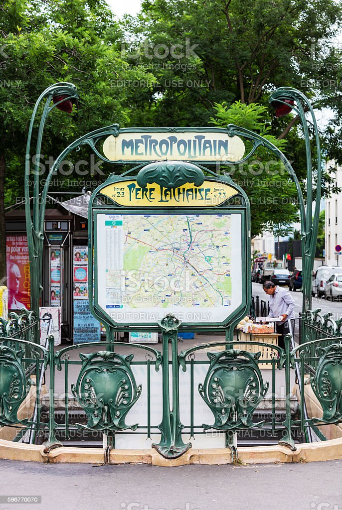 The entrance to the Pere Lachaise subway station. Paris, France royalty-free stock photo