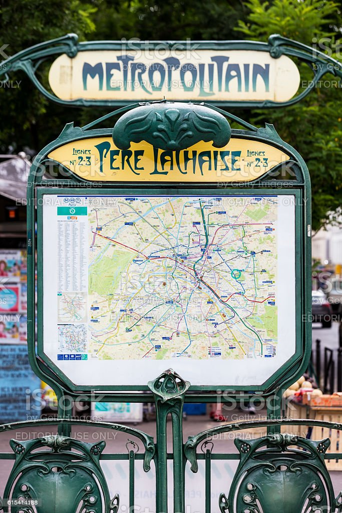 The entrance to the Pere Lachaise subway station. Paris, France stock photo