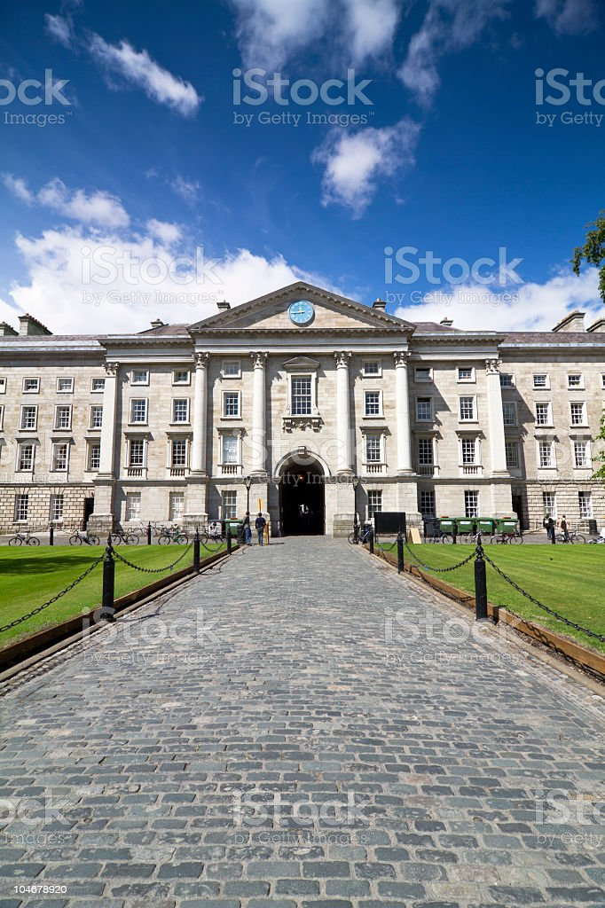 The entrance to trinity college stock photo