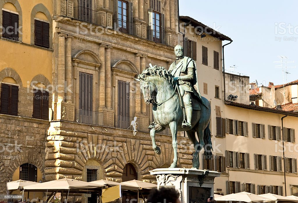 The equestrian monument to Cosimo I de' Medici in Florence stock photo