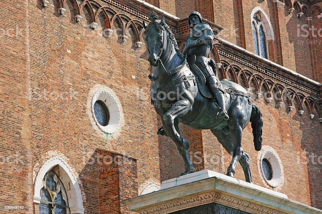 The Equestrian Statue of Bartolomeo Colleoni in Venice stock photo