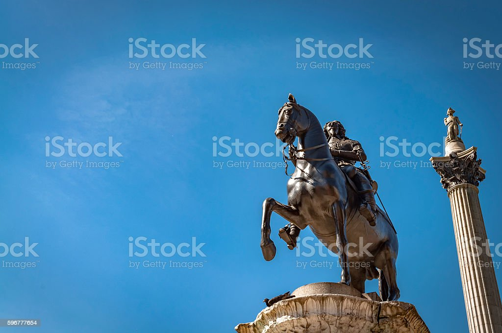 The equestrian statue of Charles I in Charing Cross, London stock photo