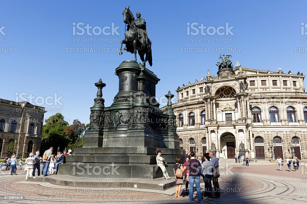 The equestrian statue of King Johann stock photo
