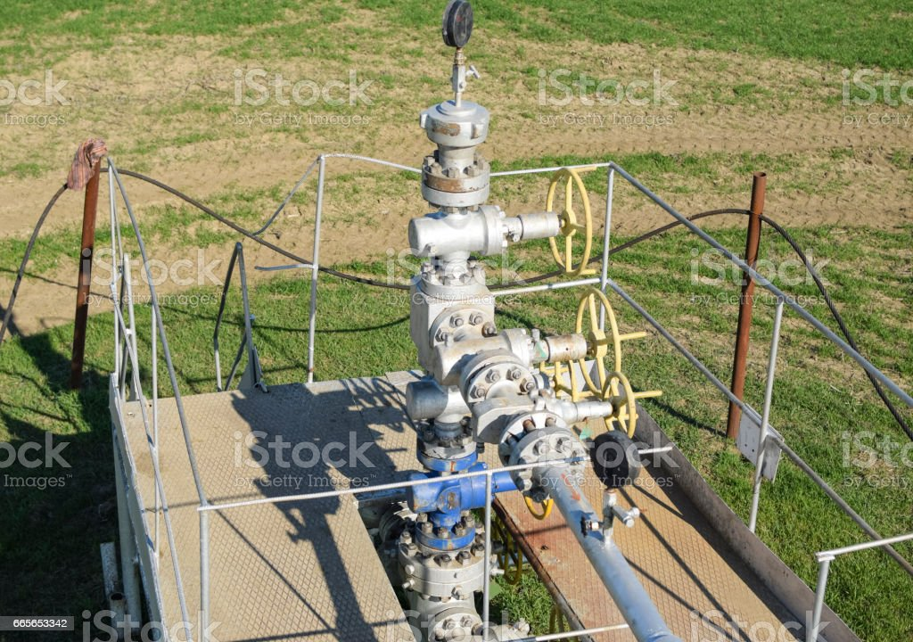 The equipment and technologies on oil fields. Oil well stock photo