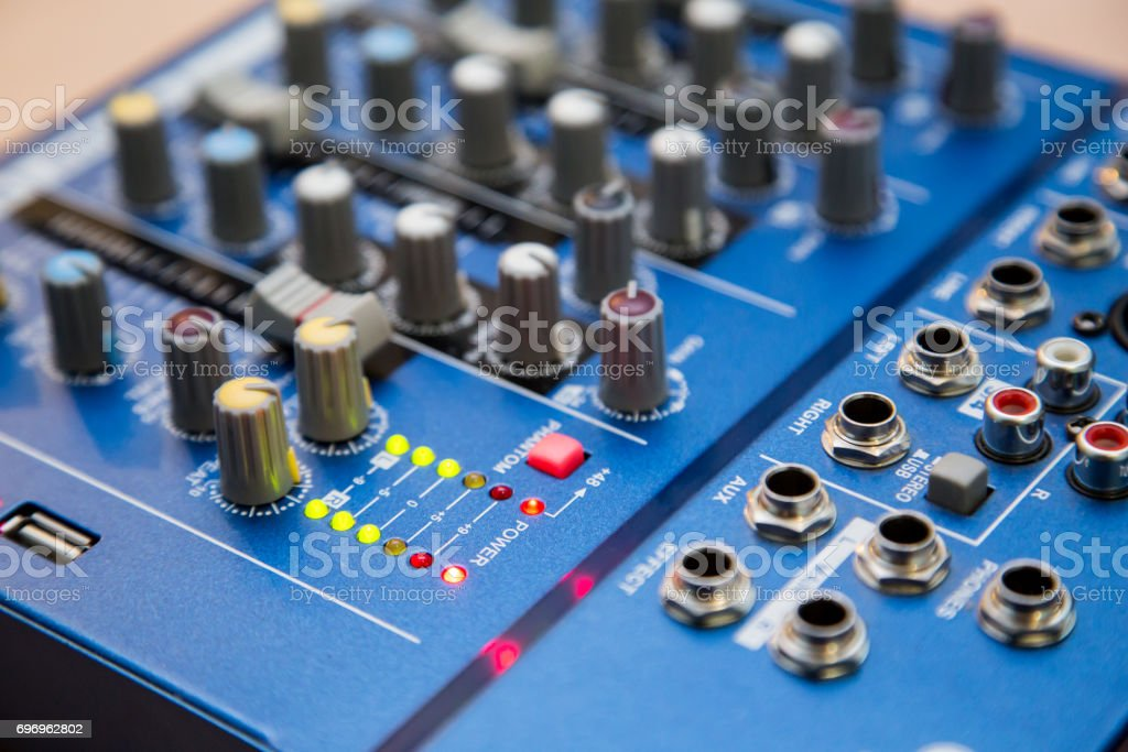 The equipment for recording. Sound mixing console stock photo