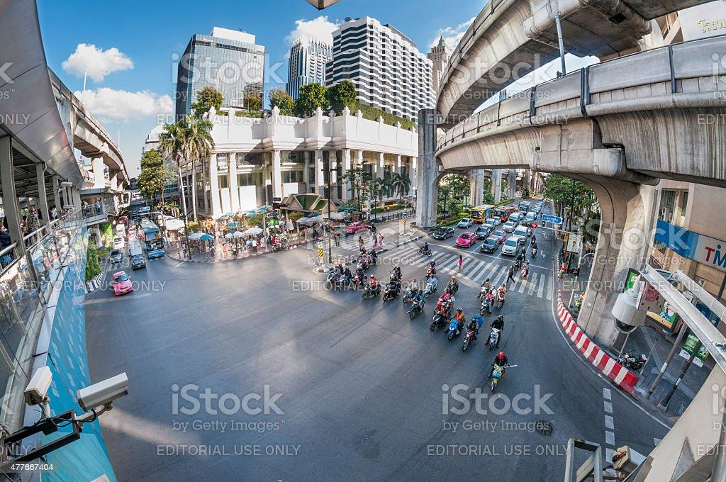 The Erawan Shrine At Ratchaprasong Intersection In Bangkok, Thailand stock photo