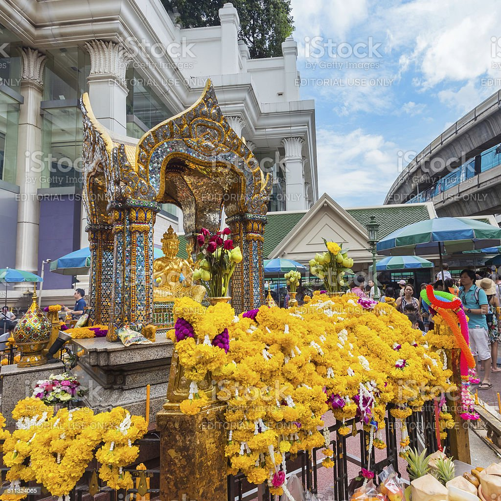 The Erawan Shrine in Bangkok stock photo