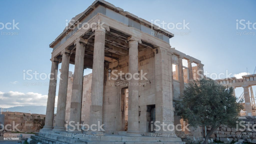 The Erechtheion an ancient Greek temple on the north side of the Acropolis of Athens, Greece stock photo