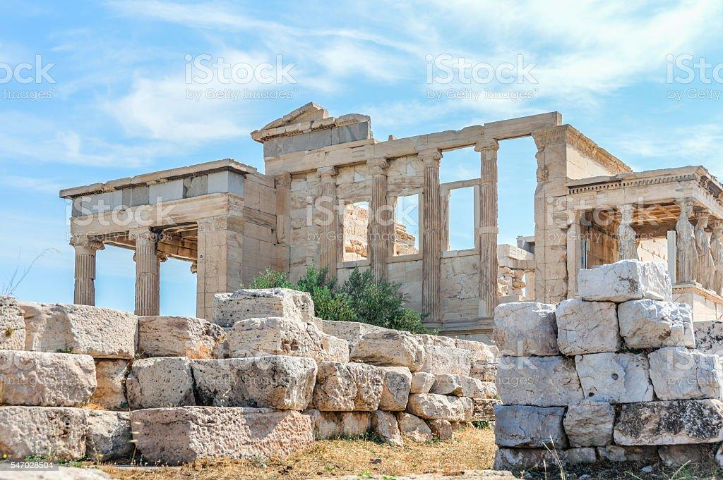 The Erechtheion at the Acropolis - Athens, Greece stock photo