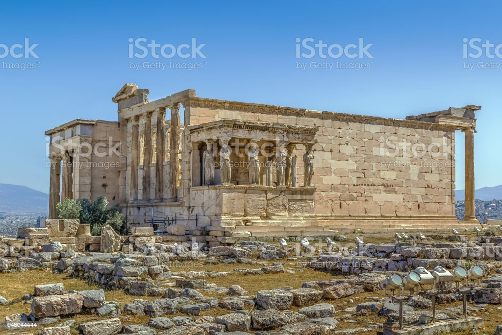 The Erechtheion is an ancient Greek temple, Greece stock photo