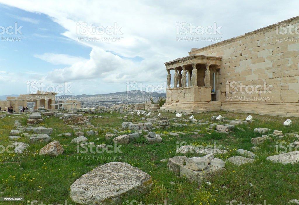 The Erechtheum or the Erechtheion of Acropolis in Athens stock photo
