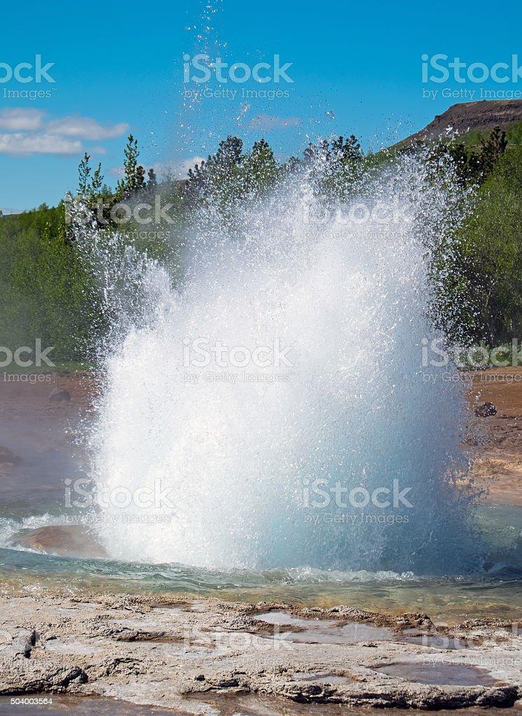The erupting Strokkur Geysir stock photo